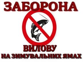 З першого листопада встановлено заборону на вилов риби у зимувальних ямах